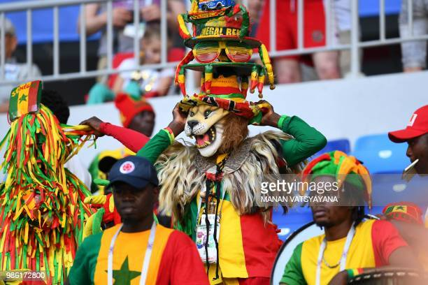 Senegal's fans cheer prior to the Russia 2018 World Cup Group H football match between Senegal and Colombia at the Samara Arena in Samara on June 28...