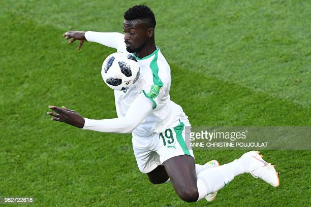 TOPSHOT Senegal's forward Mbaye Niang controls the ball during the Russia 2018 World Cup Group H football match between Japan and Senegal at the...