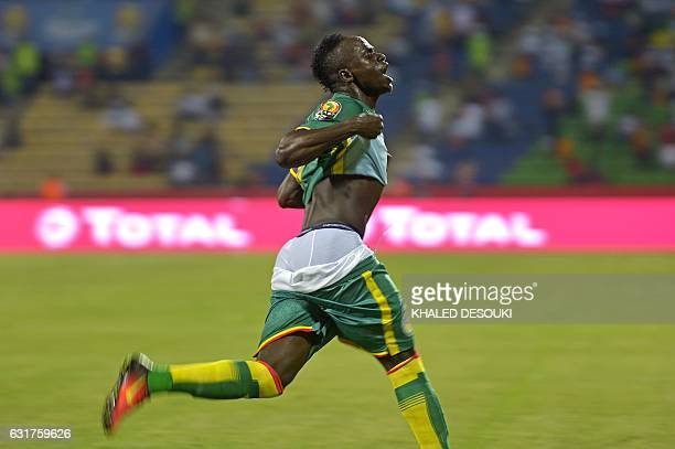 Senegal's forward Sadio Mane celebrates after scoring a goal during the 2017 Africa Cup of Nations group B football match between Tunisia and Senegal...