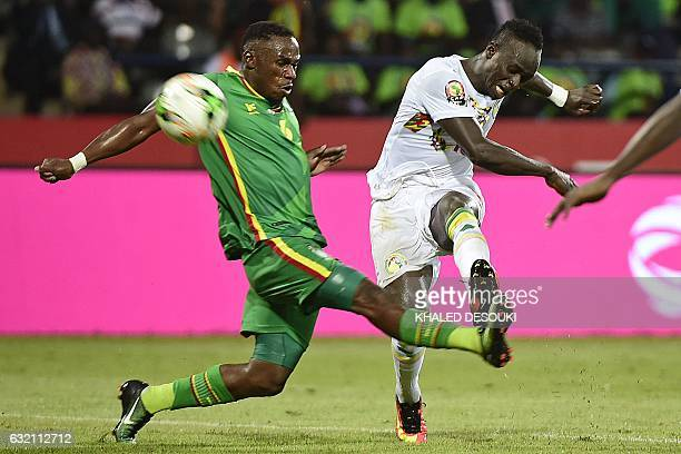 Senegal's forward Sadio Mane kicks the ball past Zimbabwe's defender Onismor Bhasera during the 2017 Africa Cup of Nations group B football match...