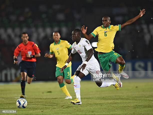 Senegal's forward Sadio Mane vies with South Africa's defender Calvin Ngonca Anele during the 2015 African Cup of Nations group C football match...