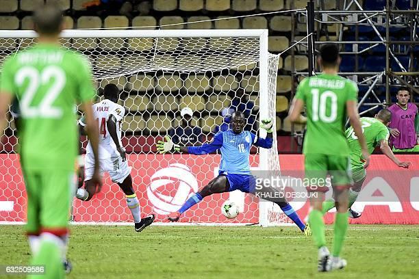 TOPSHOT Senegal's goalkeeper Khadim N'Diaye blocks a shot on goal during the 2017 Africa Cup of Nations group B football match between Senegal and...