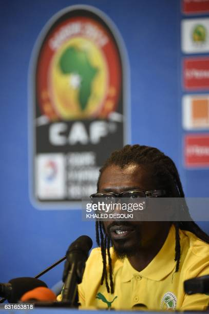 Senegal's head coach Aliou Cisse speaks during a press conference at Franceville stadium in Franceville on January 14 ahead of Africa Cup of Nations...