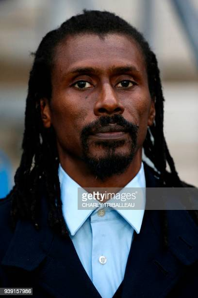 Senegal's headcoach Aliou Cisse poses before a friendly football match between Senegal and Bosnia at the Stadium Oceane in Le Havre northwestern...