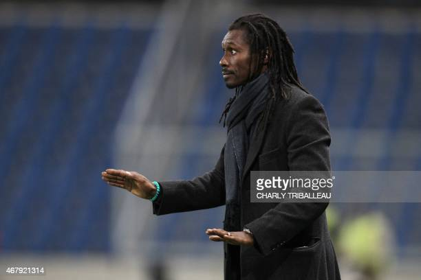 Senegal's headcoach Aliou Cisse reacts during the International Friendly football match between Senegal and Ghana on March 28 2015 at the Oceane...