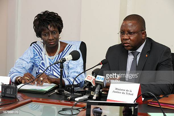 Senegal's Justice minister Aminata Toure and her Chadian counterpart JeanBernard Badare speaks to the press during the signing of an accord enabling...