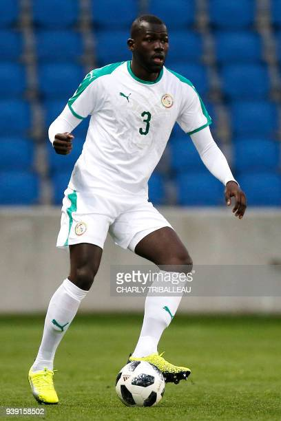Senegal's Kalidou Koulibaly controls the ball during a friendly football match between Senegal and Bosnia at the Stadium Oceane in Le Havre...