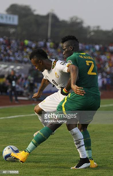 Senegal's Kara Mbodj in action against Ghana's Jordan Ayew during the 2015 African Cup of Nations Group C soccer match between Senegal and Ghana at...