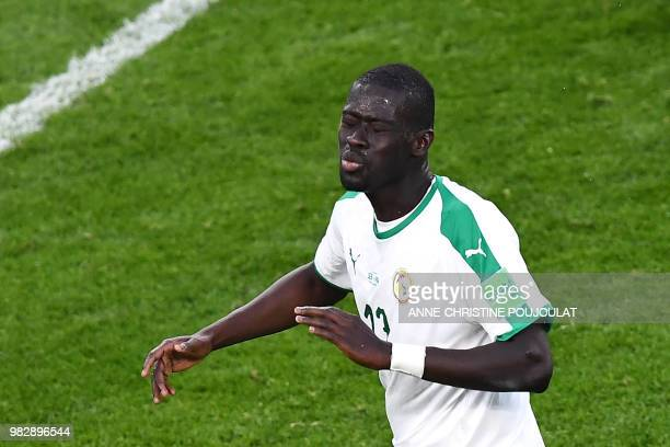 Senegal's midfielder Papa Alioune Ndiaye gstures during the Russia 2018 World Cup Group H football match between Japan and Senegal at the...