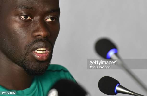Senegal's midfielder Papa Alioune Ndiaye speaks during a press conference on June 14 2018 in Kaluga during the Russia 2018 World Cup football...