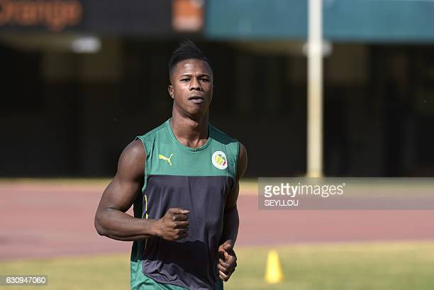 Senegal's national football team player Balde Diao Keita takes part in a training session on January 4 2017 at the Leopold Sedar Senghor stadium in...