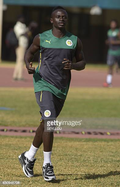 Senegal's national football team player Sadio Mane takes part in a training session on January 4 2017 at the Leopold Sedar Senghor stadium in Dakar...