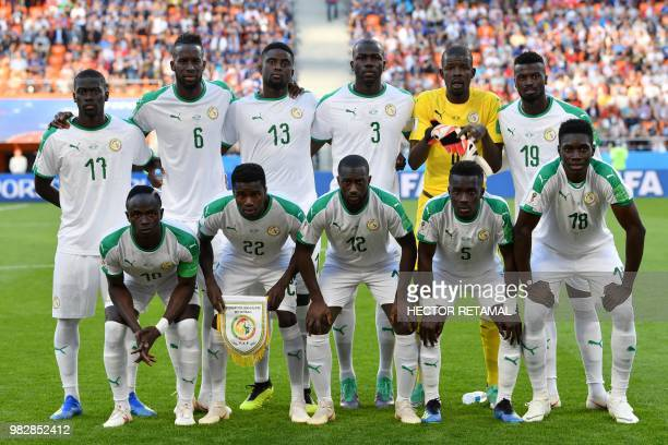 Senegal's players pose ahead of the Russia 2018 World Cup Group H football match between Japan and Senegal at the Ekaterinburg Arena in Ekaterinburg...