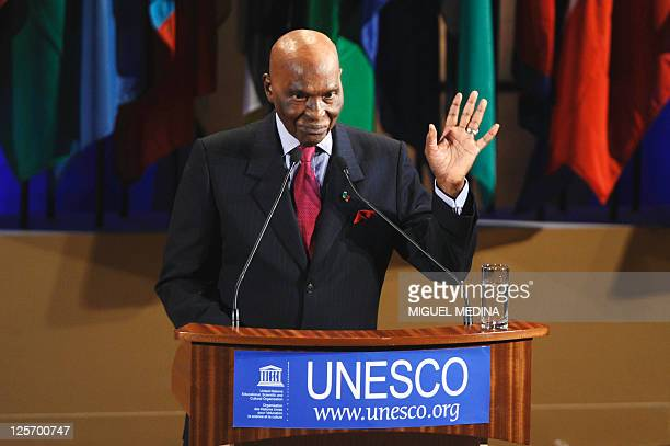 Senegal's president Abdoulaye Wade gives a speech during a ceremony to honor the Argentina's nongovernmental organization of the Grandmothers of the...