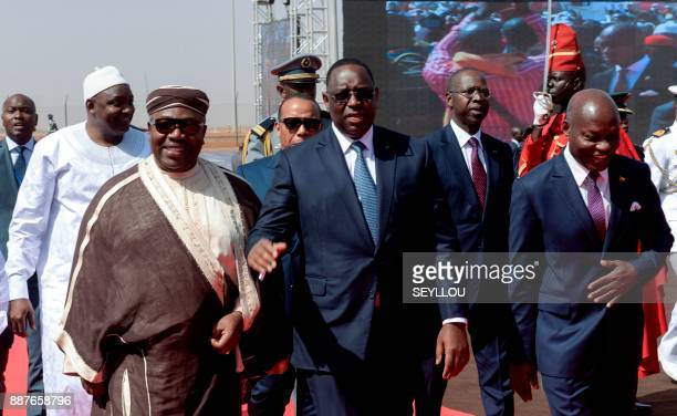 Senegal's President Macky Sall Gabon's President Ali Bongo Gambia's President Adama Barrow and GuineaBissau's President Jose Mario Vaz arrive to...