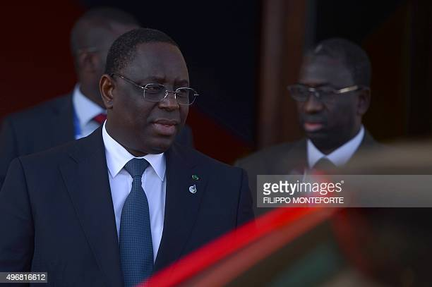 Senegal's President Macky Sall leaves at the end of the European Union - Africa Summit on Migration at the Mediterranean Conference Center, on...