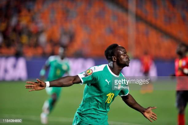 Senegal's Sadio Mane celebrates scoring during the 2019 Africa Cup of Nations round of 16 soccer match between Uganda and Senegal in Cairo Stadium in...