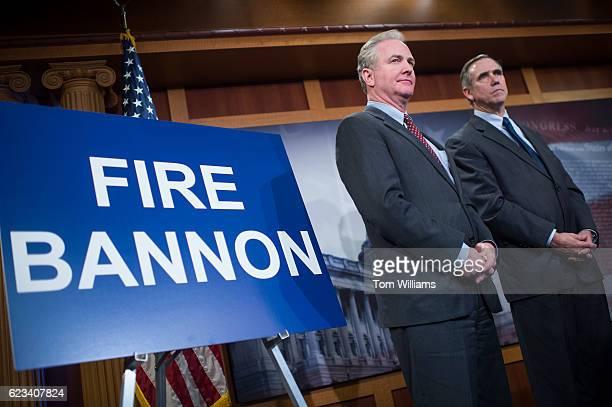 Senelect Chris Van Hollen DMd left and Sen Jeff Merkley DOre attend a news conference in the Capitol to denounce Presidentelect Donald Trump's...