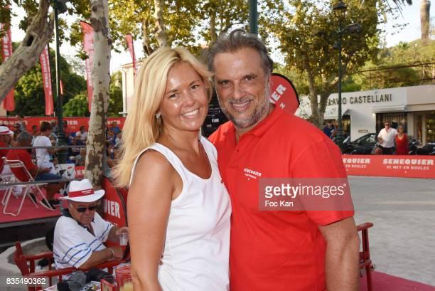 Senequier President Thierry Bourdoncle and his wife Ariane de Senneville attend the Trophee Senequier Petanque competition at Place des Lices...