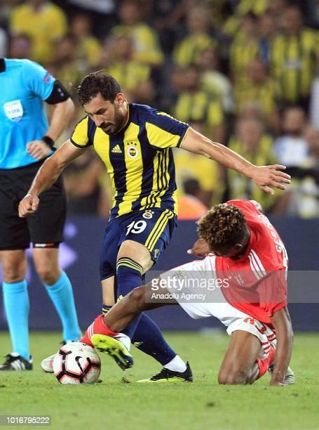Sener Ozbayrakli of Fenerbahce in action against Gedson Fernandes of Benfica during UEFA Champions League third qualifying round's second leg match...