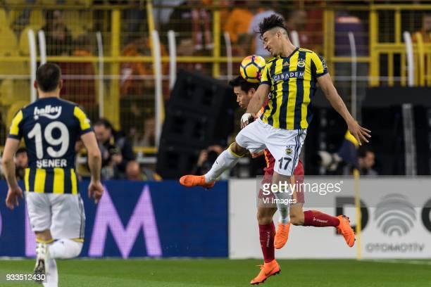 Sener Özbayrakli of Fenerbahce SK Yuto Nagatomo of Galatasaray SK Nabil Dirar of Fenerbahce SK during the Turkish Spor Toto Super Lig match...