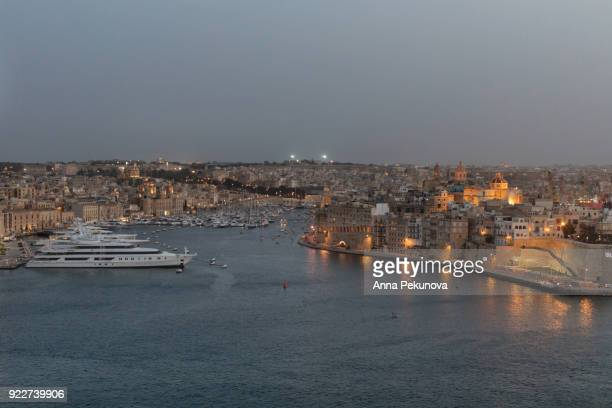Senglea, Malta at dusk, seen from Valletta