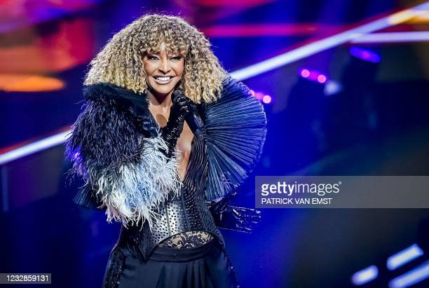 Senhit from San Marino with the song 'Adrenalina' takes part in the second rehearsal of the second semifinal of the Eurovision Song Contest in...
