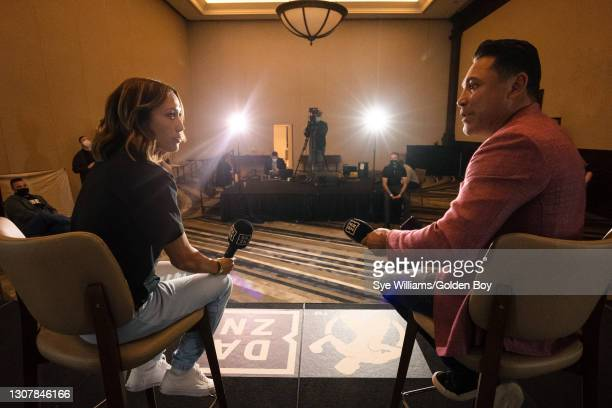 Seniesa Estrada and Oscar De La Hoya speak during a press conference before the WBO international welterweight championship fight on March 18, 2021....