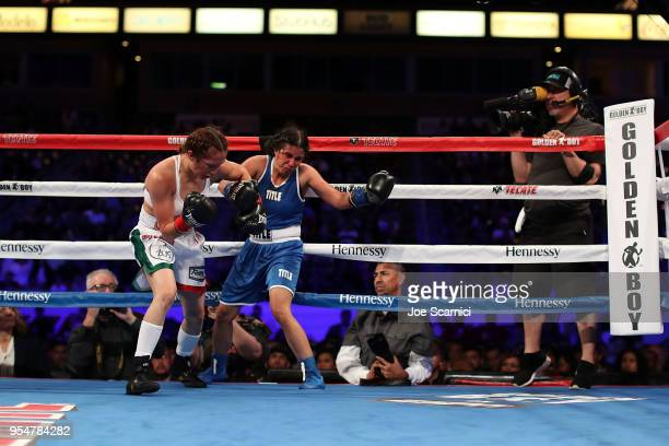 Seniesa Estrada throws a punch at Amarilis Adorno in the second round during the Flyweight Fight at StubHub Center on May 4 2018 in Carson California