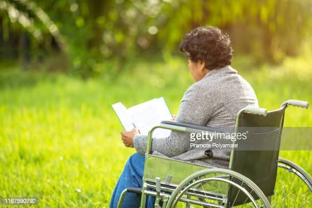 senior adult elderly asia women sit on wheelchair and reading book at  the lawn - storyteller stock pictures, royalty-free photos & images