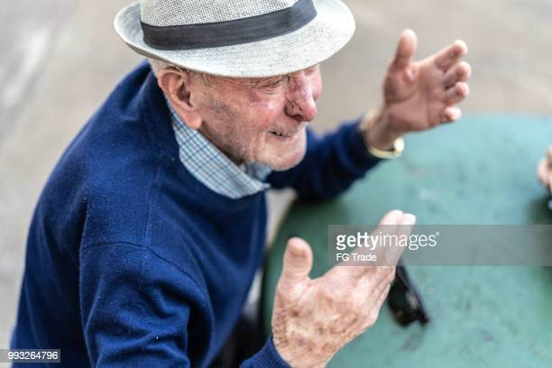 Senior adult male talking; he is 91 years old