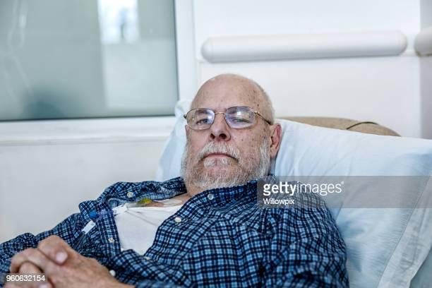 senior adult man cancer chemotherapy patient - pazienza foto e immagini stock