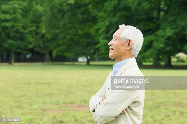 Senior adult man in a park