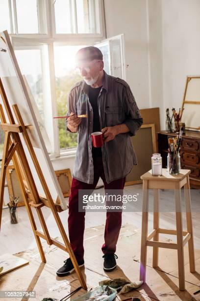 Senior adult painter