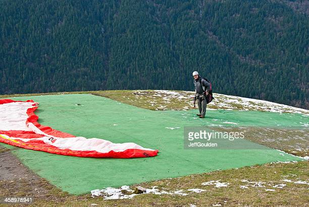 Paraglider Getting Ready to Take Off