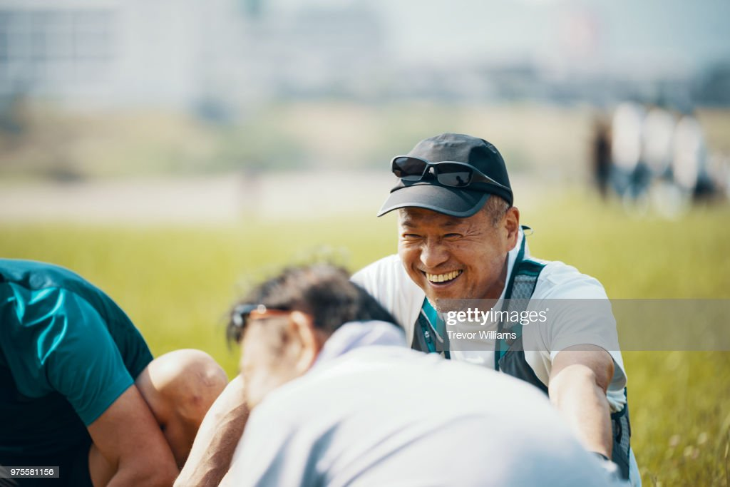 Senior adults before or after doing sports : Stock Photo