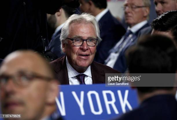 Senior adviser Glen Sather of the New York Rangers attends the first round of the 2019 NHL Draft at Rogers Arena on June 21, 2019 in Vancouver,...