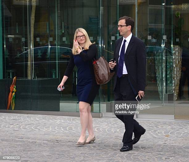 Senior Advisor for Strategic Communications to US Secretary of State John Kerry at the US State Department Marie Harf leaves a meeting on Iran's...