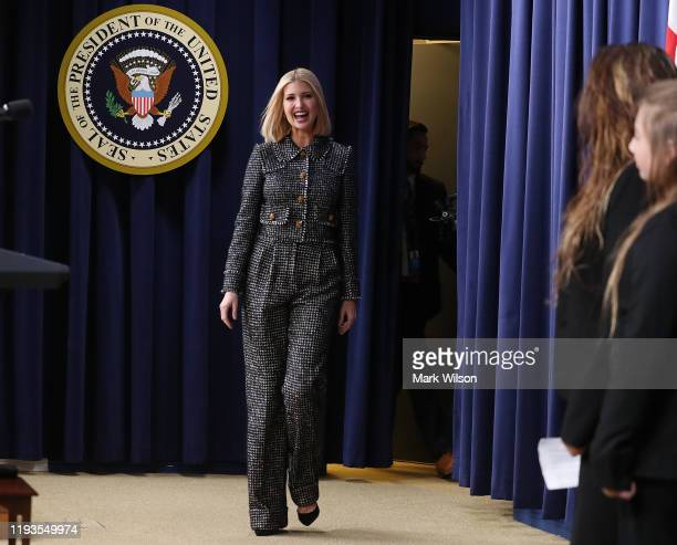 Senior advisor Ivanka Trump is introduced to speak during a White House Summit on Child Care in the Eisenhower Executive Office Building on December...
