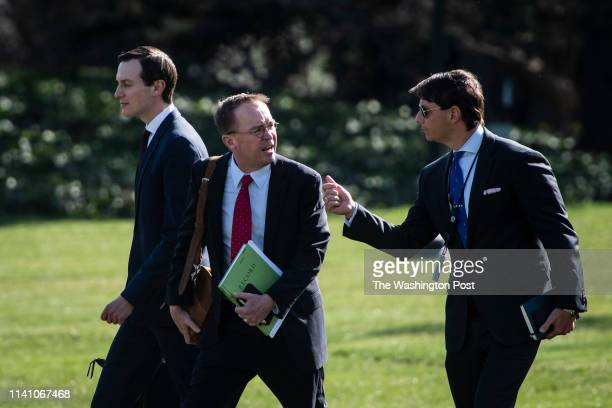 Senior Advisor Jared Kushner Acting White House chief of staff Mick Mulvaney and White House Principal Deputy Press Secretary Hogan Gidley talk as...