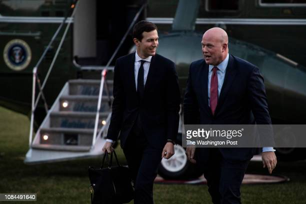 Senior Advisor Jared Kushner and Acting United States Attorney General Matthew Whitaker follow President Donald J Trump as they disembark Marine One...