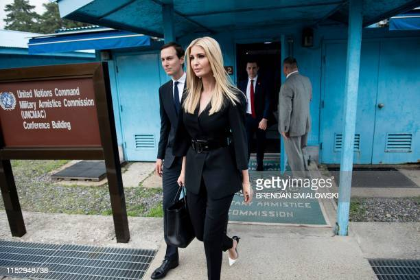 Senior Advisor Jared Kushner and Ivanka Trump leave a UN Armistice Commission conference room in the Demilitarized Zone on June 30, 2019.