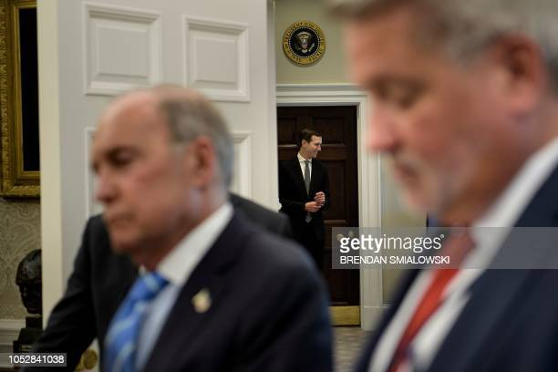 Senior Advisor Jared Kushner is seen while US President Donald Trump speaks during a bill signing for S3021 in the Oval Office of the White House...