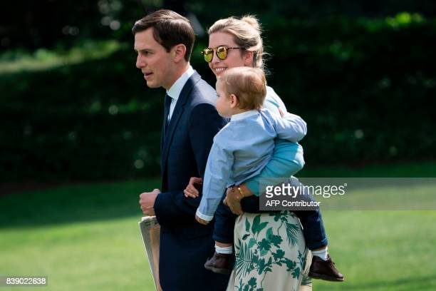 Senior Advisor Jared Kushner Ivanka Trump and Theodore James Kushner follow US President Donald Trump to Marine One on the South Lawn of the White...