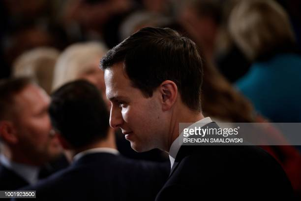 Senior Advisor Jared Kushner leaves after a jobs creation pledge event in the East Room of the White House July 19 2018 in Washington DC