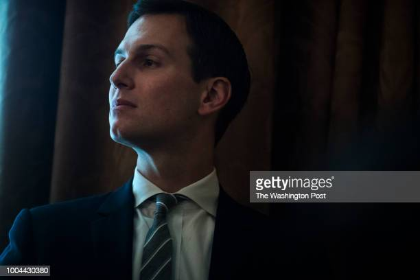 Senior advisor Jared Kushner listens to President Donald J Trump during a cabinet meeting in the Cabinet Room of the White House on Wednesday July 18...