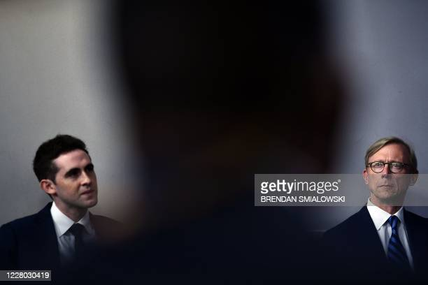 Senior Advisor Jared Kushner speaks as US State Department Special Representative for Iran, Brian Hook looks on, during a press briefing in the James...