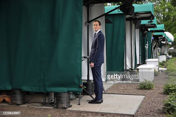 Senior Advisor to President Donald Trump and soninlaw Jared Kushner prepares to talk to FOX News outside the White House on the morning that the...
