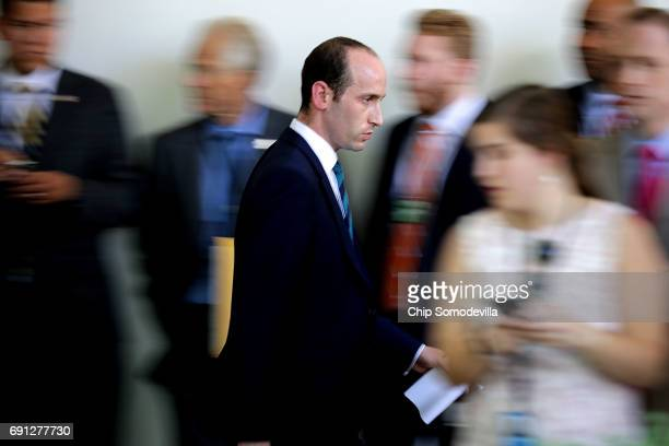 Senior Advisor to the President for Policy Stephen Miller moves quickly through the Rose Garden Colonnade while makine last minute preparations...