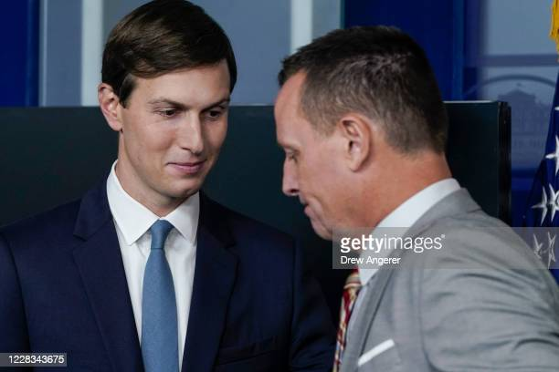 Senior Advisor to the President Jared Kushner and Advisor to the President on SerbiaKosovo Richard Grenell participate during a press briefing at the...